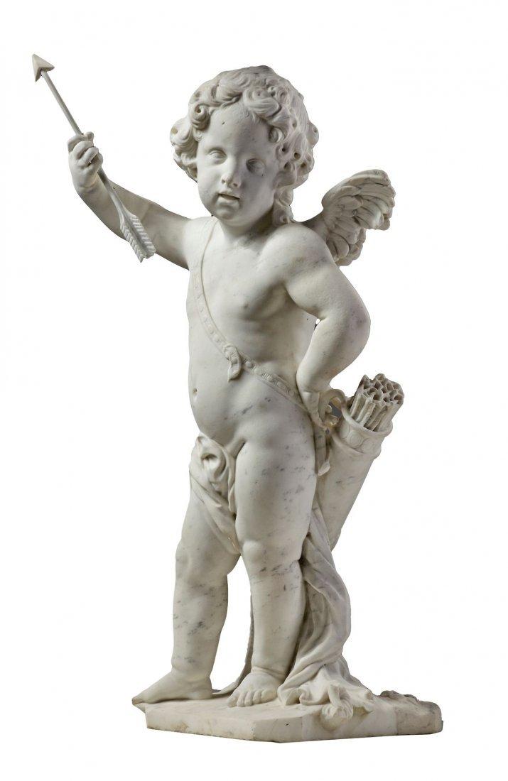 A Dutch sculpted white Carrara marble model of Cupid,
