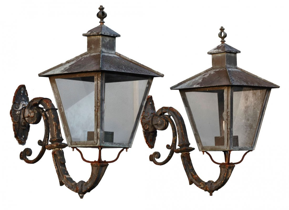 A pair of French copper, glazed and cast iron mounted