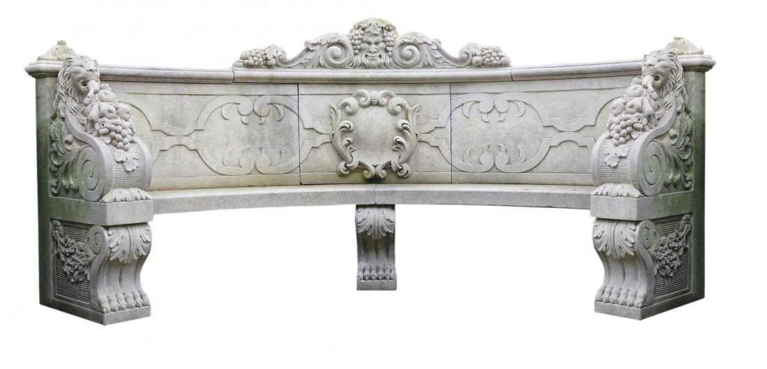 A carved limestone exedra seat, 20th century