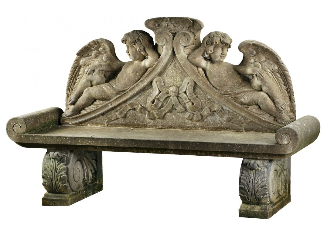 A carved limestone garden bench in Louis XIV style ,