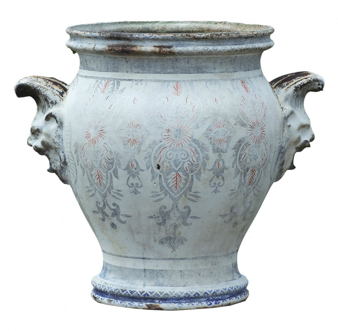 A French emaille enamel decorated twin handled urn,
