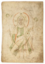 Christ holding a book and blessing, - within a mandorla