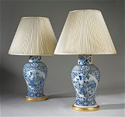 A Pair of 19th Century Chinese Blue and White Vases Now