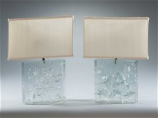 A Pair of Clear Refracted Lucite Lamp by Marie Claudes