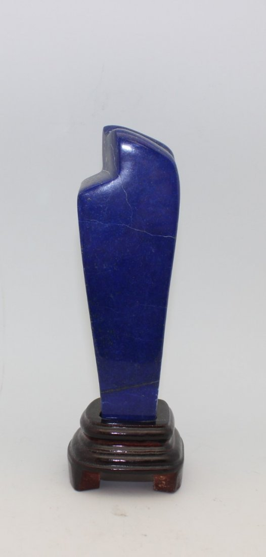 LAPIS LAZULI SCULPTURE WITH WOOD BASE