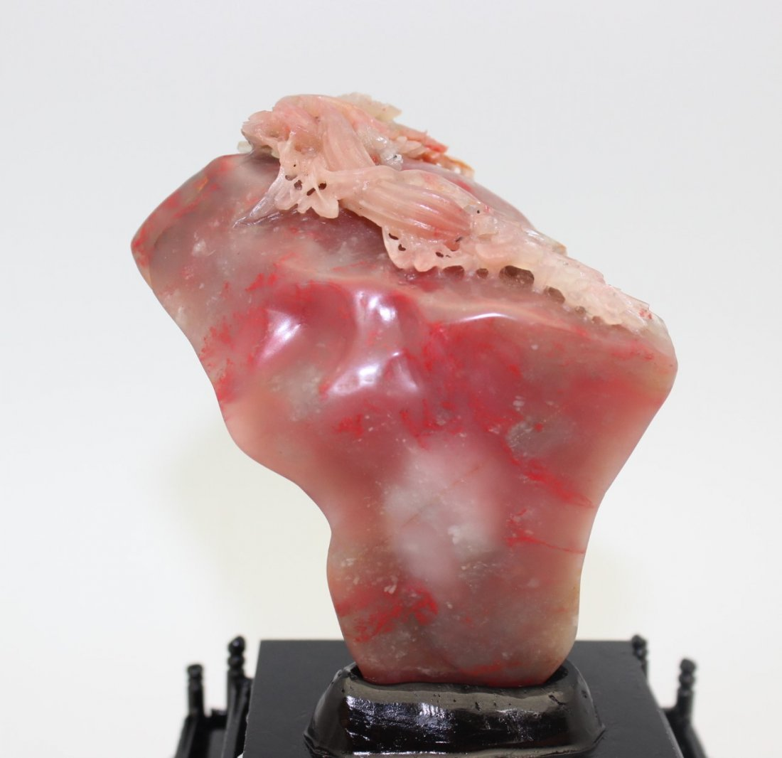 CHICKEN BLOOD STONE SCULPTURE WITH WOOD BASE