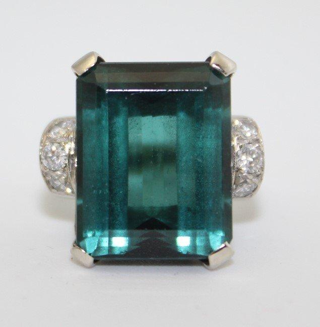 14K GOLD DIAMOND BLUE/GREEN TOURMARINE RING W GIA CERT.