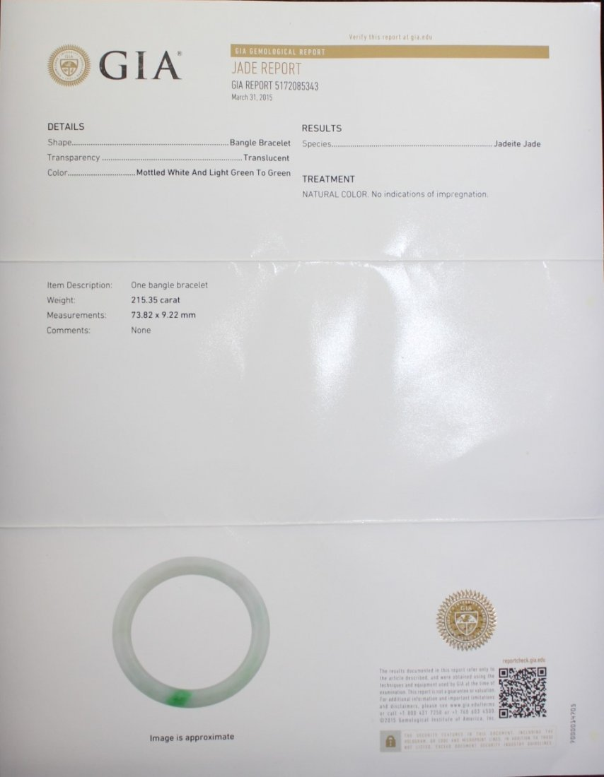 NATURAL JADEITE BANGLE WITH GIA CERTIFICATE - 2