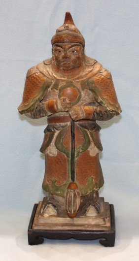 ANTIQUE RED AND GREEN GRAZED POTTERY FIGURE