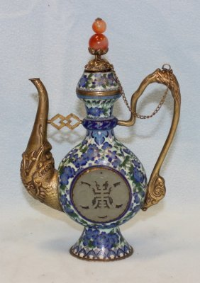 BRONZE  CLOISONNE WINE POT WITH JADE INSERT