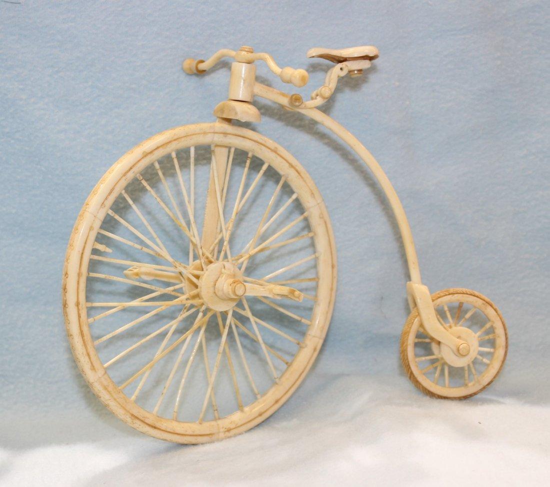 BONE CARVED HIGH WHEEL BICYCLE