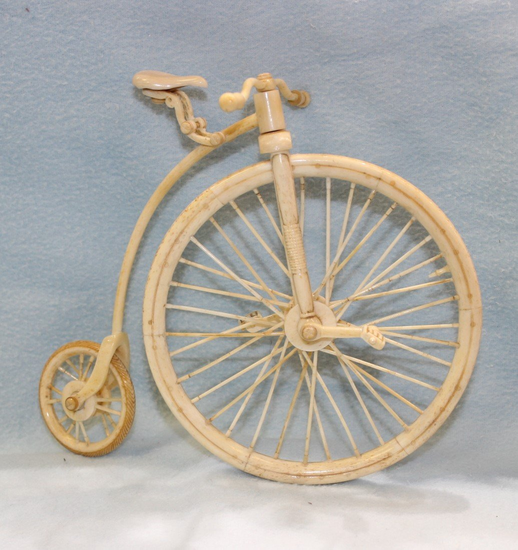 BONE CARVED HIGH WHEEL BICYCLE - 2