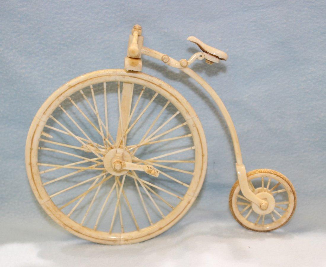 BONE CARVED HIGH WHEEL BICYCLE - 3