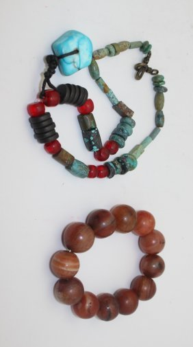 ANTIQUE AGATE BRACELET & AGATE AND TURQUOISE NECKLACE