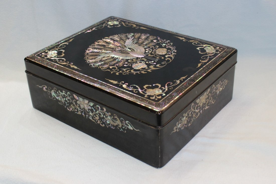 LACQUER BOX WITH M/P INLAID