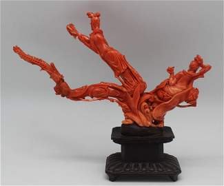 NATURAL CORAL SCULPTURE WITH WOOD BASE