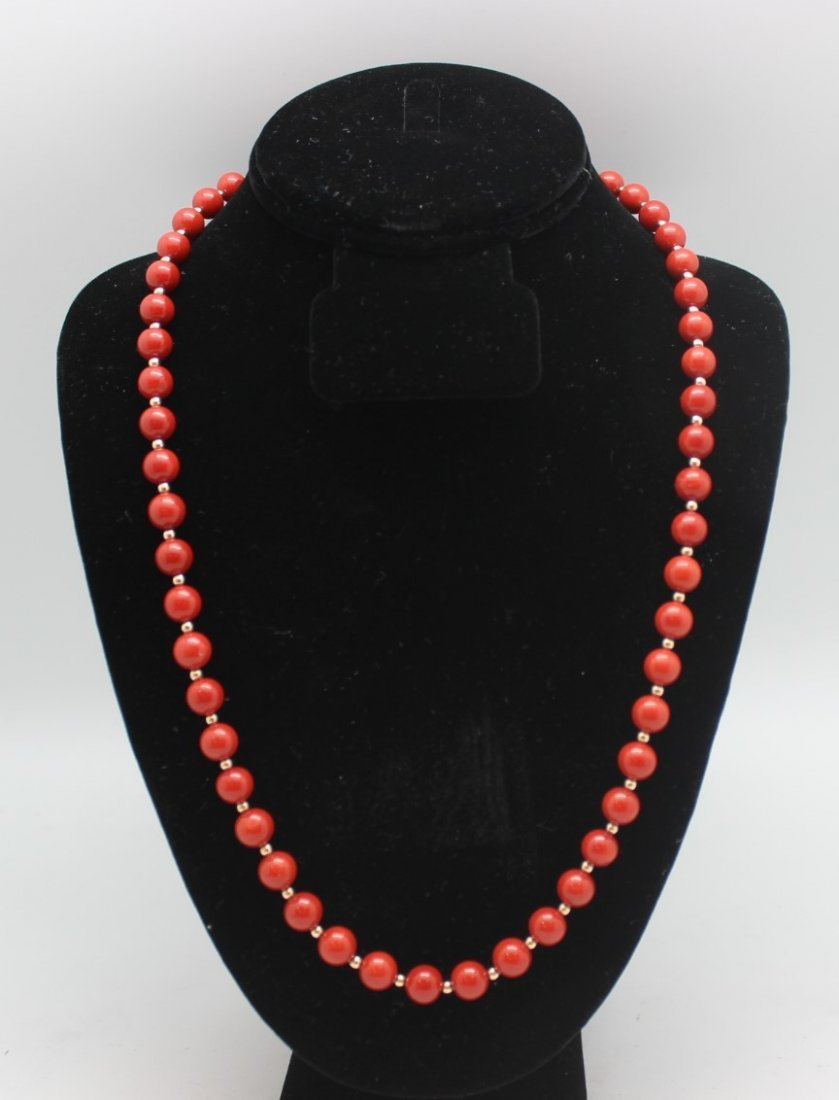 RED CORAL NECKLACE WITH G.I.A. CERTIFICATE