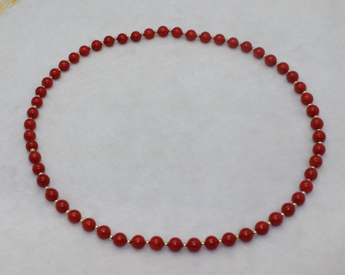 RED CORAL NECKLACE WITH G.I.A. CERTIFICATE - 4