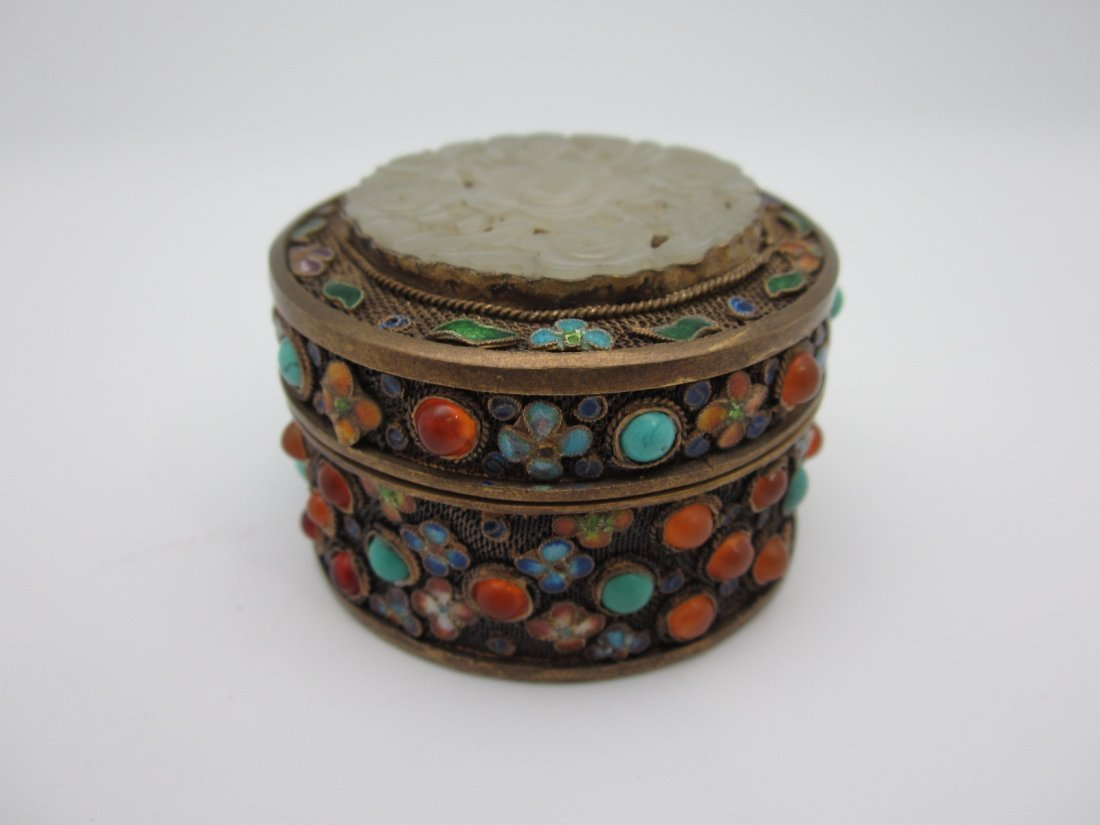 11: Chinese Silver Jeweled Box with Jade  Insert