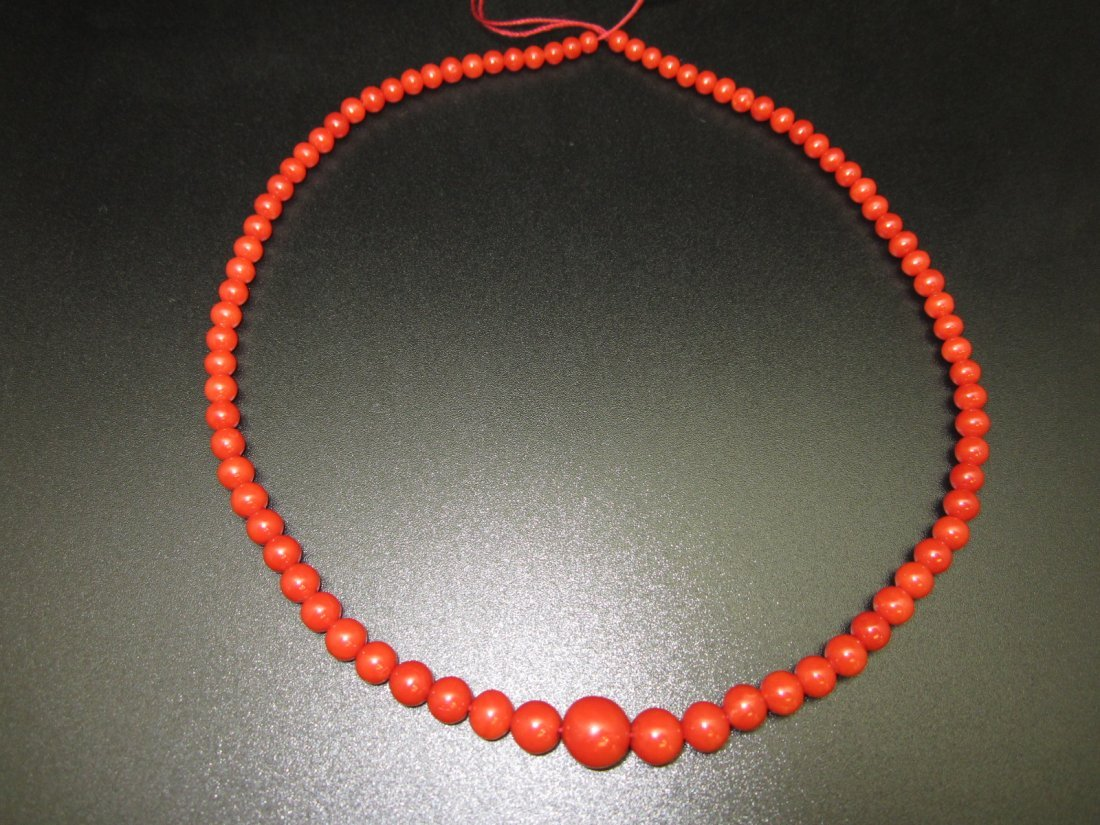 179: Red Coral Necklace with G.I.A. Certification