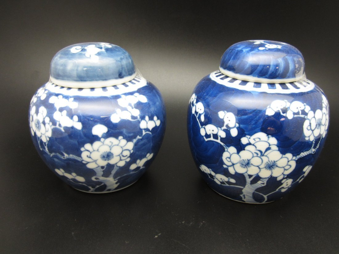 Pair of Blue and White Porcelain Covered Jars