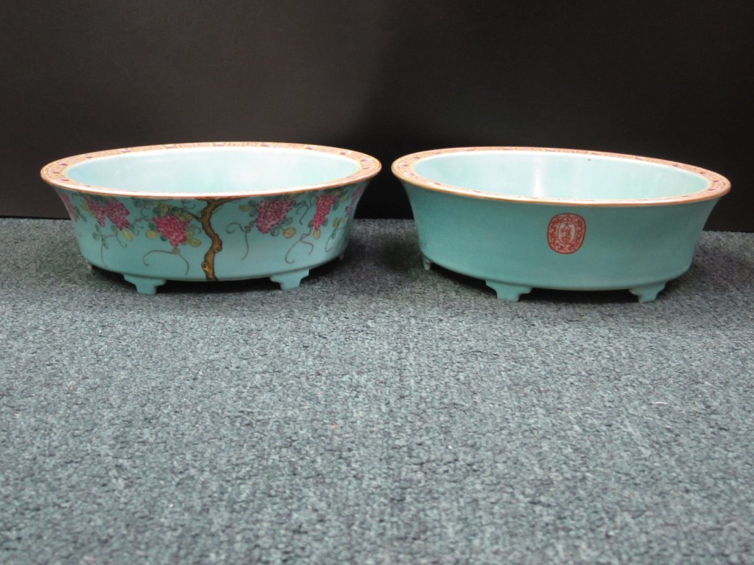 Pair of Famille Rose Porcelain Washers