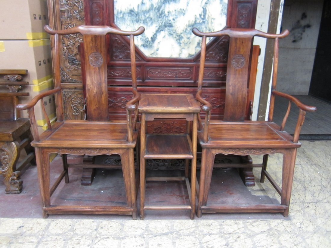 Three Pieces Set Huanghuali Armchairs and Sidetable