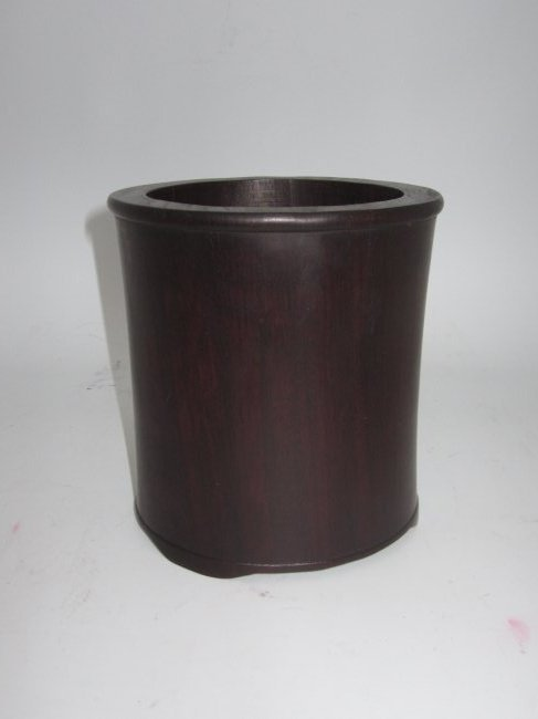 HARD WOOD BRUSH POT