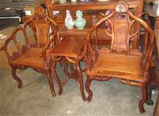 THREE PIECES SET HUANGHUALI ARM CHAIRS AND SIDETABLE