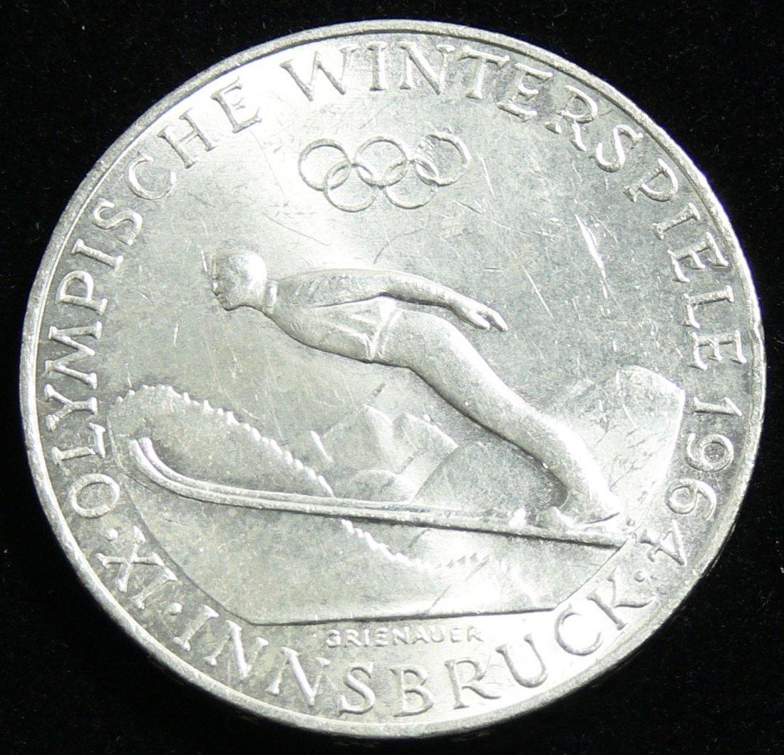 """Österreich 1964, 50 Schilling- Silbermünze, """"Olympiade"""