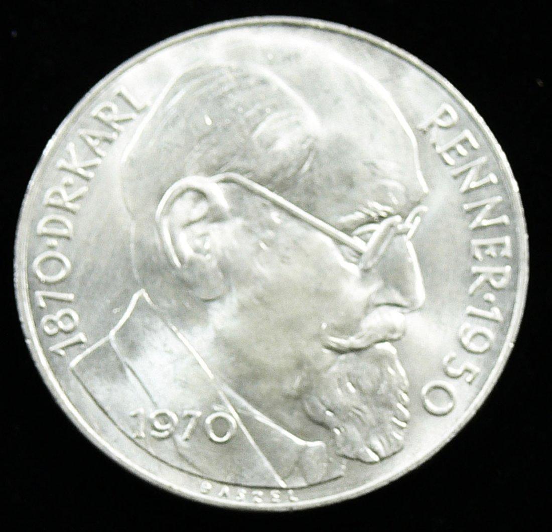 """Österreich 1970, 50 Schilling- Silbermünze, """"Dr. Karl R"""
