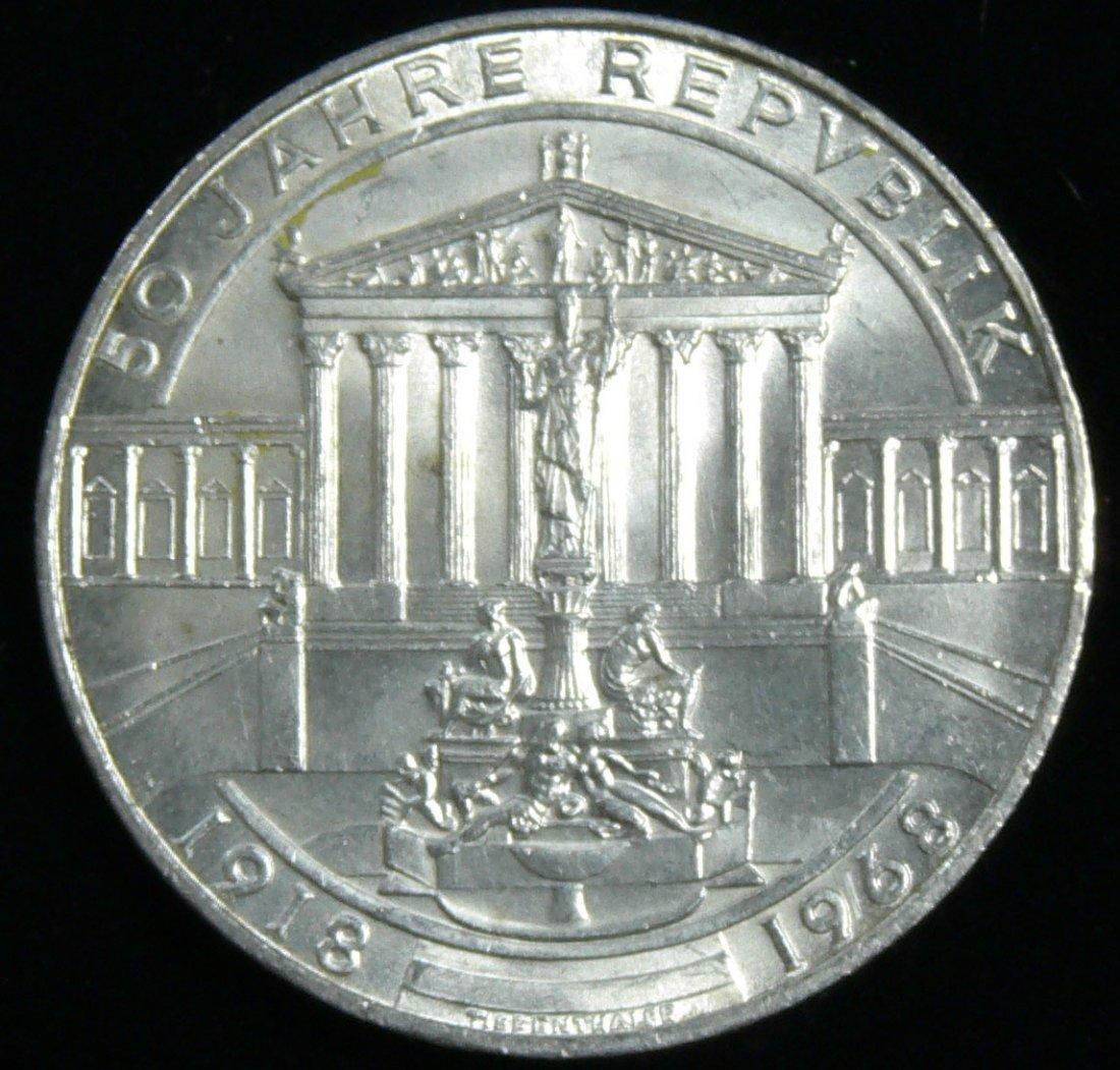 """Österreich 1968, 50 Schilling-Silbermünze, """"50 Jahre Re"""