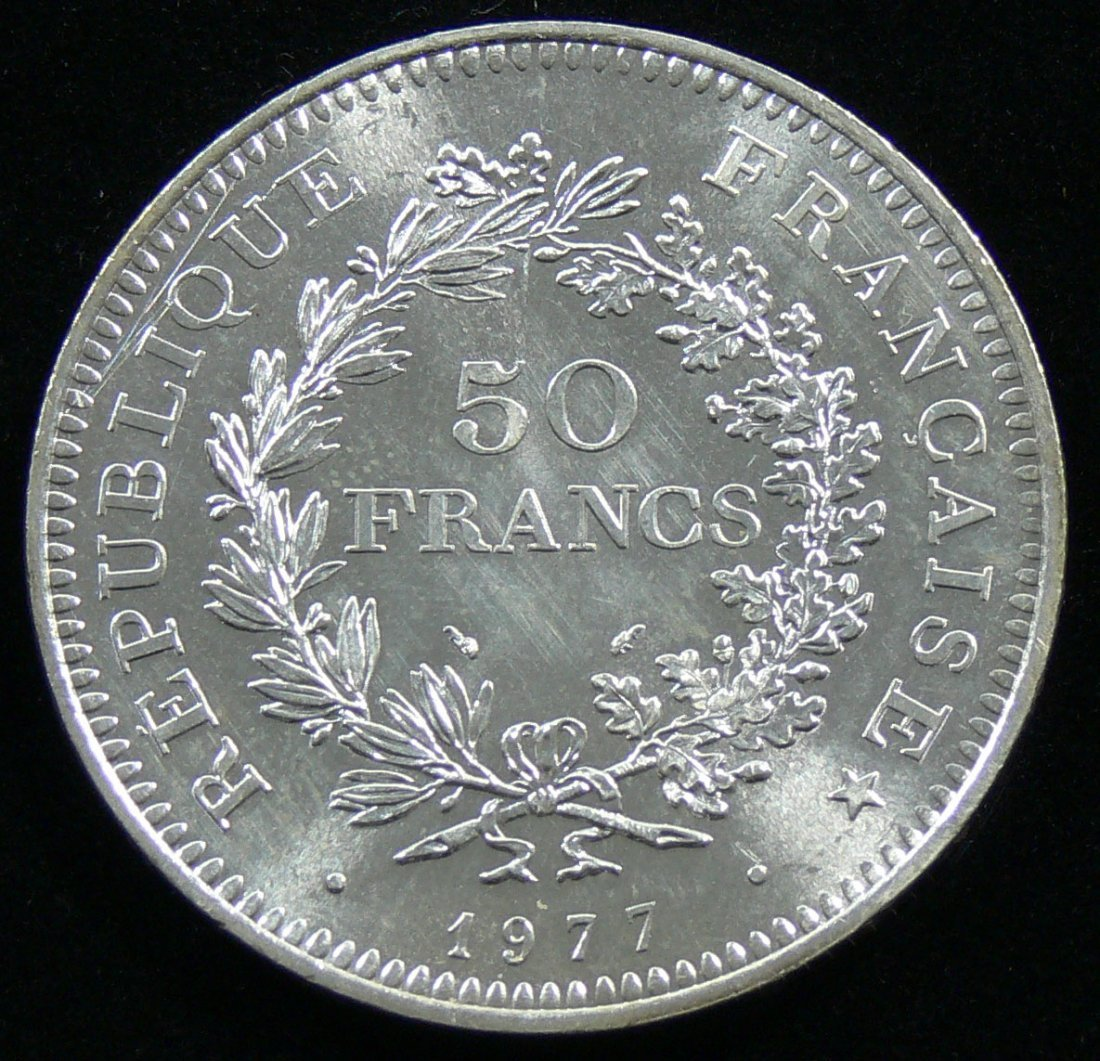 Frankreich 1977, 50 Francs-Silbermünze, Herkulesgruppe.