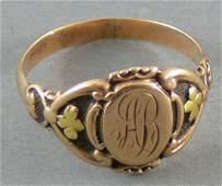 Alter Monogrammring, 585er Gold.  Monogramm AB,