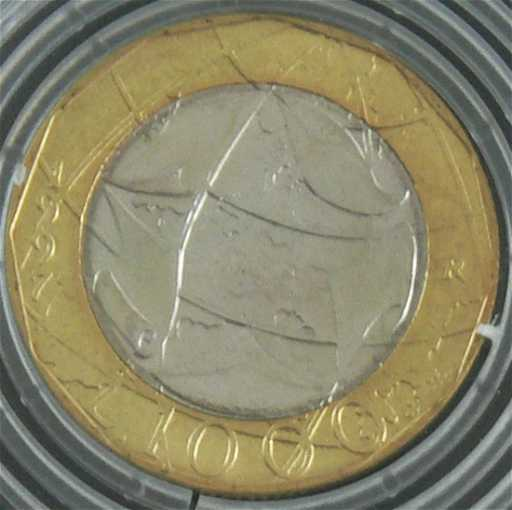 Italien 1997 1000 Lire Münze Fehlprägung Falsche P