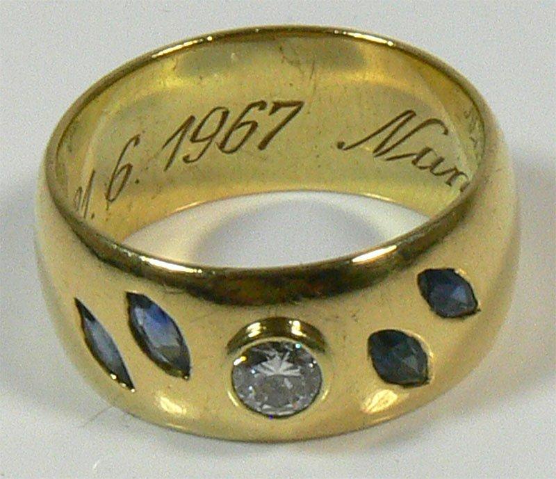 Herren-Ring, 585er Gold, 12,9 g, mit 1 Brillianten,
