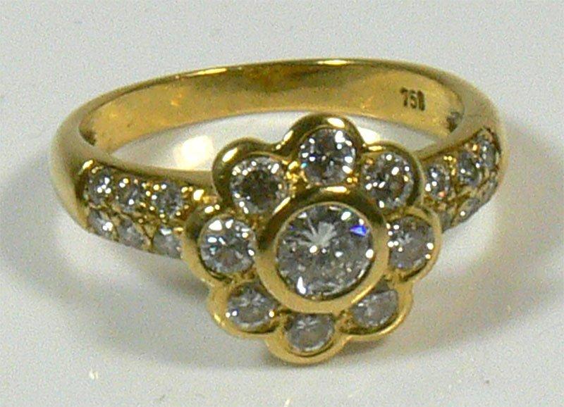 Damen-Ring, 750er Gold, 5,3 g, mit Brillianten zusa