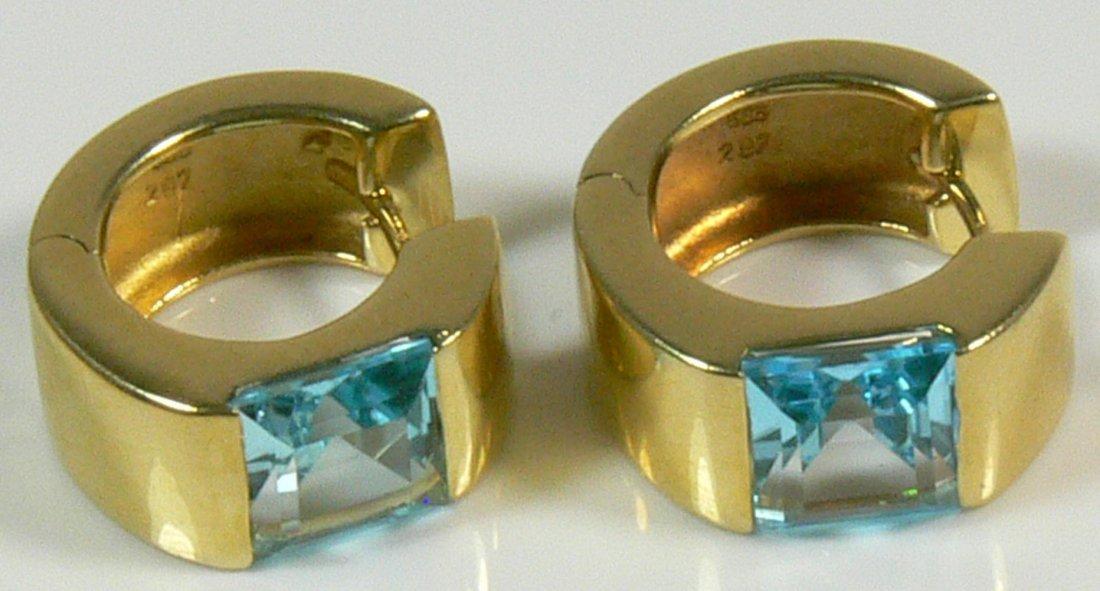 Ohrringe aus 585er Gelbgold, mit Aquamarin, je 2,79