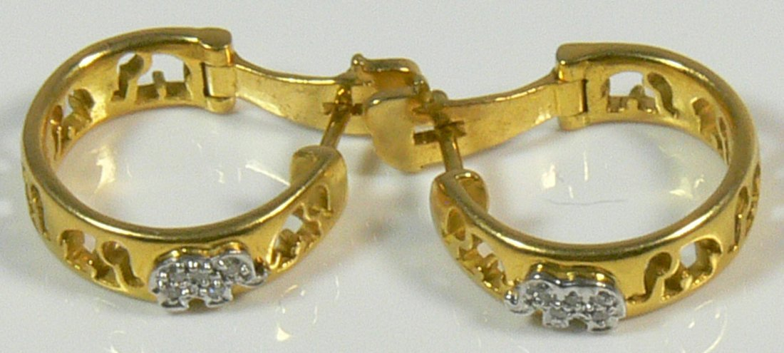 Ohrringe aus 750er Gelbgold und Weißgold, Elefanten