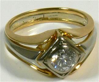 Damen- oder Herrenring, 750er Wei�- und Gelbgold, 1