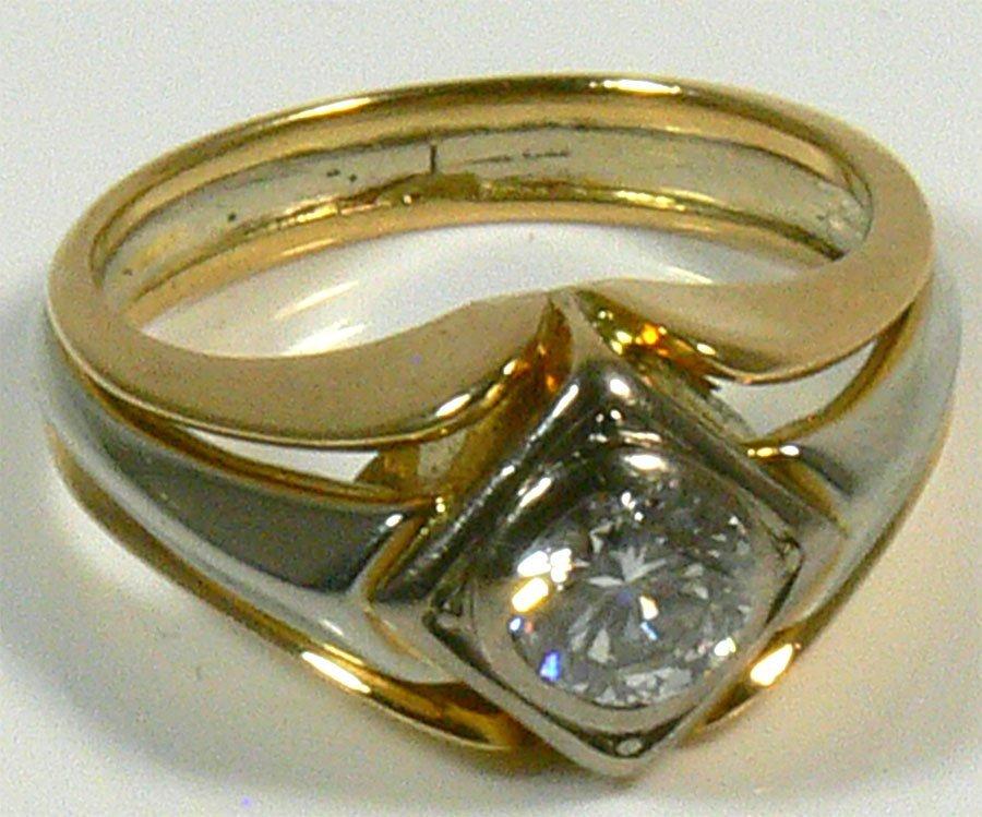 Damen- oder Herrenring, 750er Weiß- und Gelbgold, 1