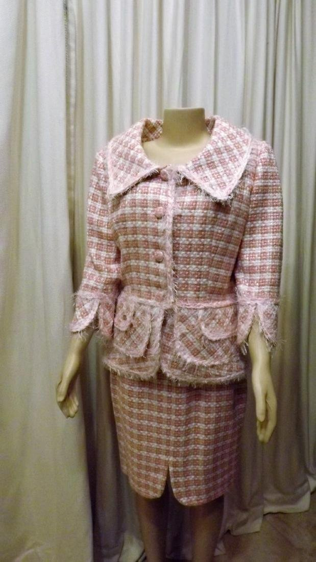 Chanel Pink and White Tweed Skirt Suit, Size 46 Euro,