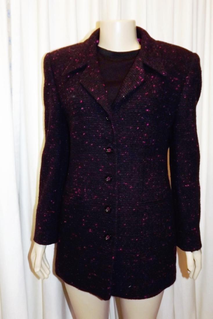 Louis Feraud Black and Magenta tweed jacket (Size 16)