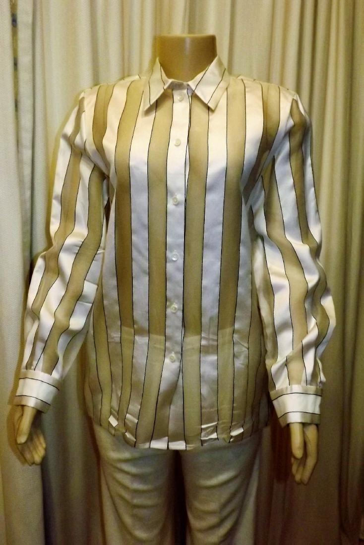 Louis Feraud 100% Silk White and Sheer Stripe Button