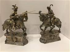 Pair of Sterling Mounted Table Knights with Lances