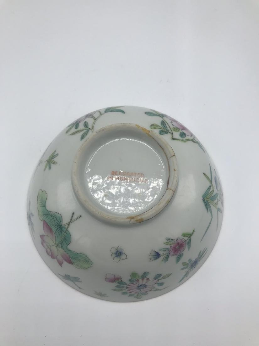 Chinese Porcelain Bowl with Flowers, Decorated in Hong