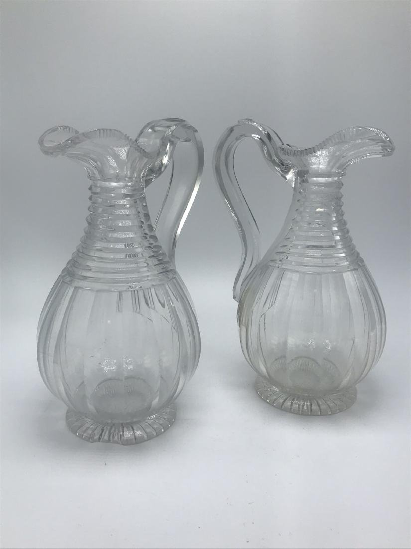 Pair of Antique Cut Glass Ewers, - 2