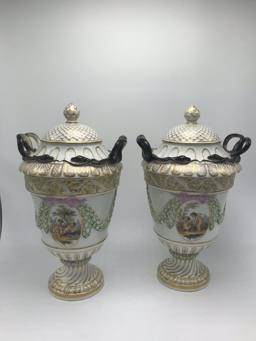 Pair of Meissen Lidded Urns. Classical Forms and Swags,