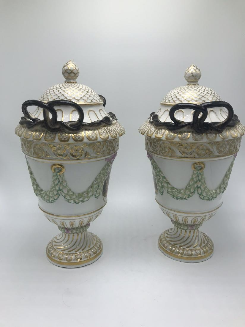 Pair of Meissen Lidded Urns. Classical Forms and Swags, - 2