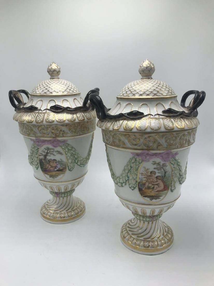 Pair of Meissen Lidded Urns. Classical Forms and Swags, - 3